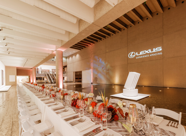 Dining table at Queensland Art Gallery event